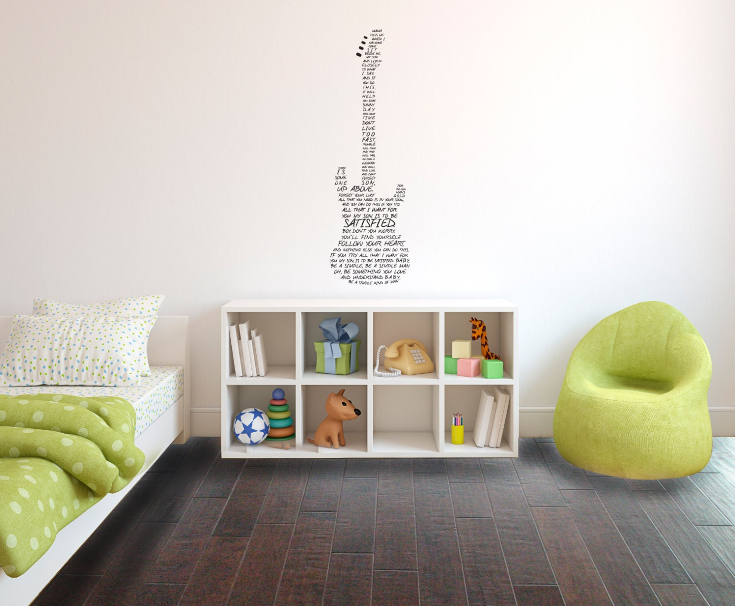 Simple Man Lyrics In Guitar Wall Decal Custom Vinyl Art - Custom vinyl decals for guitars