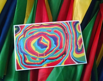 P32 - Colorful Rainbow Vibrant Art Postcard - Abstract Postcards for Sale