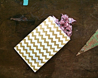 Party or wedding favor bags, set of 50 white kraft paper bags with gold chevron stripe. Candy buffet, goodie bags, bitty bags.