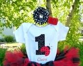 First Birthday Ladybug Personalized Bodysuit Baby Girl 1st Birthday Bodysuit