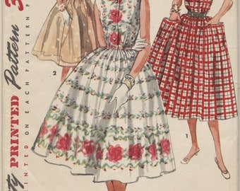 Vintage 1955 Simplicity Pattern 1084 Ladies Dress Size 15 Bust 33