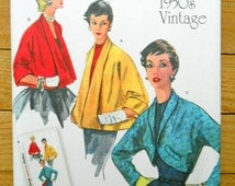 Sewing pattern for 1950s vintage toppers, Simplicity 1319 reproduction of a vintage pattern, women's jackets and bolero pattern
