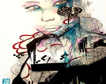 Portrait art print - Giclee art print -Mini art print - Mix media artprint - Girly art - Watercolor and ink - Abstract portrait