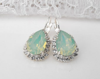 Mint Earrings Mint Jewelry Mint Wedding Mint Bridesmaids Green Mint Opal Beach Wedding Seafoam Green Swarovski Silver Dangle Earrings
