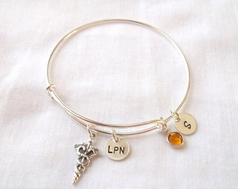 Alex and Ani Style Nurse Bracelet (LEAVE INITIAL in NOTE) -- Sterling Silver, Personalized, Medical Symbol, Nurse/Doctor -- Made to Order