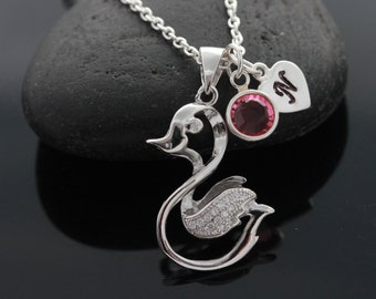 Duck Necklace, 925 Sterling Silver duckling With CZ, 3D Duck Necklace, Personalized charms and duck. Italian Chain. New Born Baby