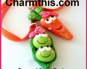 BFF Best Friends Peas and Carrot  Ribbon Necklace Set