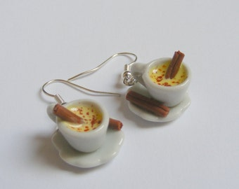 Food Jewelry Eggnog Earrings, Egg nog Earrings Miniature Food Earrings Mini Food Jewellery Polymer clay Christmas Earrings Christmas Jewelry