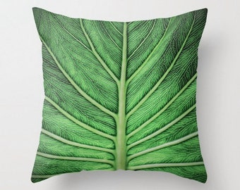 Veins of Life - Throw Photo Pillow; Travel Photography [Ecuador Amazon Nature / Vivid Woodland Green Tropical Palm Leaf Leaves decor cover]