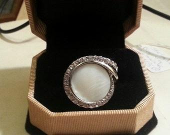 Vintage Silver Tone Moonstone and Rhinestone Ring