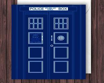TARDIS Door. Doctor Who Birthday Card. Greetings Card. Geek Blank Card. Anniversary. Valentine's.