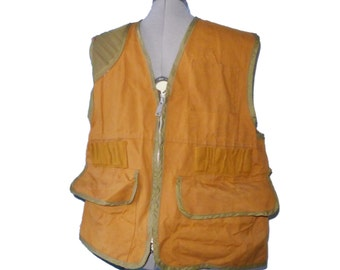 FINAL SALE Heavy canvas / duty vintage hunting vest - brown, lined, olive trim, zip L sportsman outdoors bow fletcher bowhunting SAFTBAK