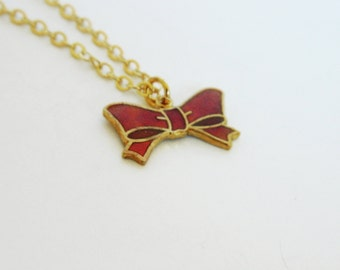 Red Enamel Bow Necklace