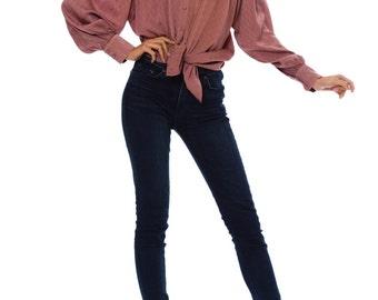 1990-1994 Emmanuelle Khanh Mauve Blouse Size: M/L