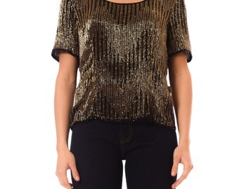 1980s Vintage Dazzling Metallic Copper Beaded Top Size: S/M