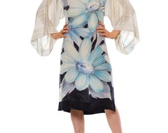 1980s Vintage White Black Light Blue Floral Oversized Dress  Size: XS/S