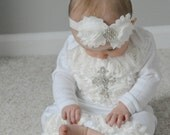 Infant Baby Girl Layette White Cotton Baby Gown with Off White Shabby Chiffon Flowers and Rhinestone Cross