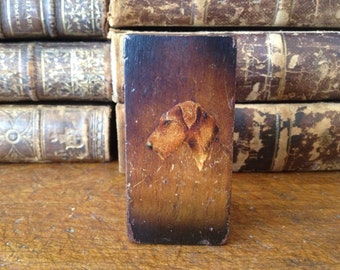 Vintage England ~ Terrier Dog Wood Treen Case ~ Match Strike Box