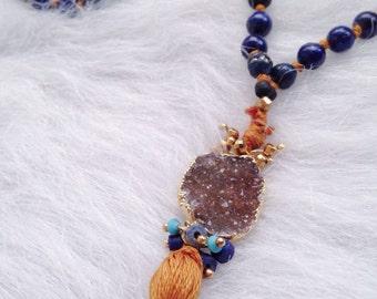 Lapiz lazuli, yellow tigers eye and Druzy 108 bead Mala