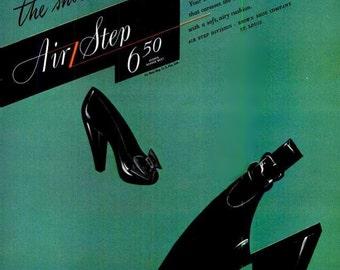 1944 Stilettos Fashion Art Vintage Haute Couture High Heels Air Step Shoes Advertisement Retro Green Glam Pumps Fashionista Wall Decor Print