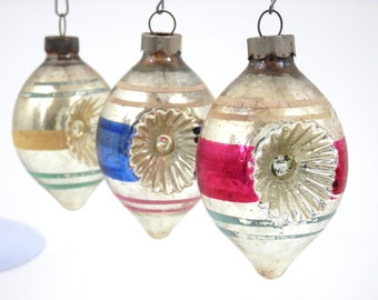 Mercury Glass Ornaments Striped Teardrops with Double Indents