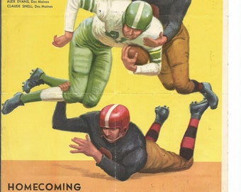 Vintage Iowa High School Football Roster with Pepsi Ad