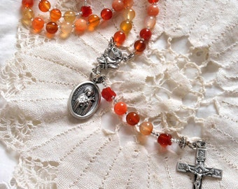 Carnelian Rose St. Therese of Lisieux Rosary