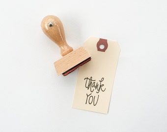 Thank You Rubber Stamp - Thank you hand lettered rubber stamp - thank you stamp - thanks - 1 1/2 inches - 40 mm - READY TO SHIP - K0044