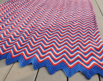 Red White and Blue Zig Zag Crocheted Afghan Throw Handmade