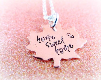 Home Sweet Home Copper Maple Leaf Necklace - Hand Stamped Canada Necklace - everythingprettyshop theartisangroupmember