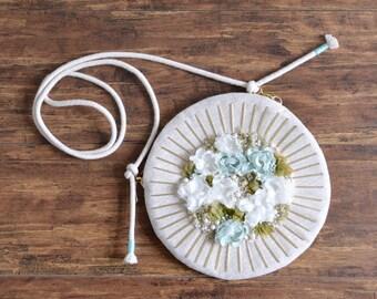 MISS Rainy Field. On Sale 20% off full moon shape flower purse. Style 61. Ready to ship
