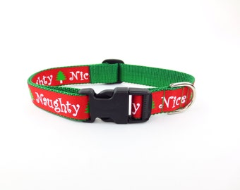 Large Naughty or Nice Dog Collar