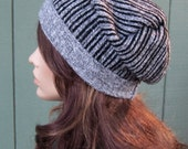 Grey striped beanie slouchy beanie recycled sweater upcycled wool blend eco accessories one of a kind OOAK women