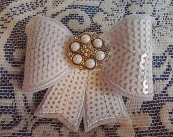 White Sequin & Rhinestone Hair Bow Clip - Sequin Hair Clip - Sequin Bow Hair - White Sequin Bow - Bling Hair Bow - Boutique Hair Clip
