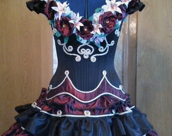 Victorian style dress with handmade flowers