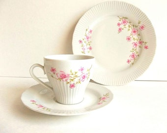 Vintage JL Menau tea set trio, vintage East German GDR porcelain teacup saucer and dessert plate,  floral Tea Party, pink and white
