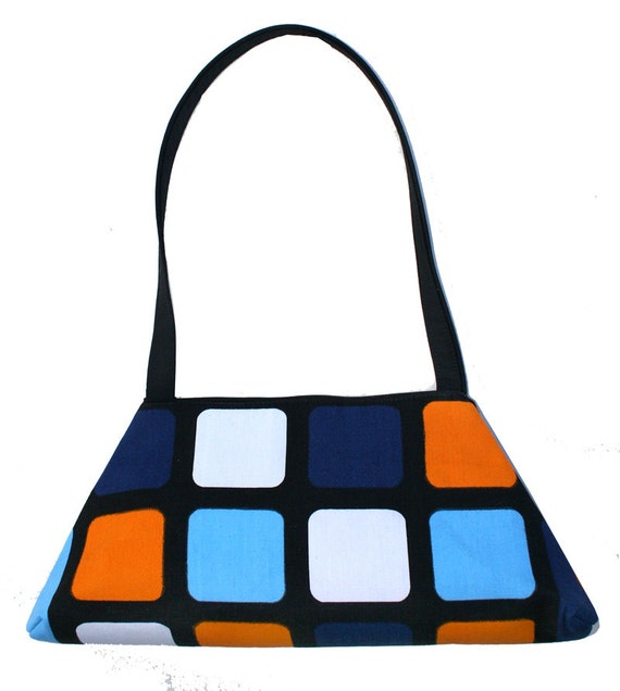SALE! Mod, checkered, vintage fabric, silkscreen Tote