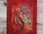 Original 7 x 9 Horse Distressed & Painted Wood-Print Inspirational-Child's Decor-Nursery-Horse Lover--Fire-Red-Equestrian Home Decor-Passion