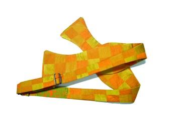 Handmade Orange Checkered Bow-Tie - O/S