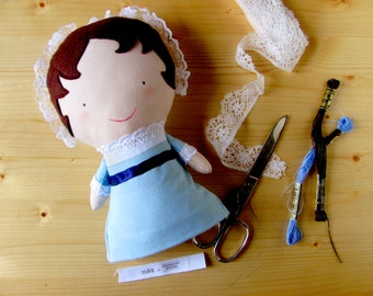 Jane Austen collectible fabric doll, gift idea for a Janeite