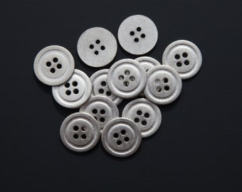 "18 Vintage 7/8"" Silver Gunmetal Buttons. Simple Design with 4 Holes. Flat Backs, Solid, Weighty Metal. Coats, Jackets. Item 3090M"