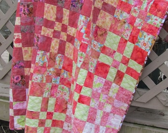 Modern Quilt Coral Pink Green Floral Flowers Girls Throw Mothers Day
