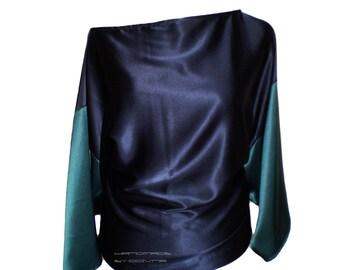 Silk blouse - Batwing Tunic-Loose top-Fine italian silk blouse