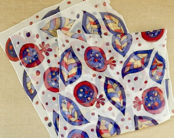 Abstract pomegranates scarf. Hand painted silk scarf  in red and blue.Ready to ship.