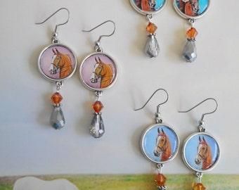 American Saddlebred show horse silver charm earrings