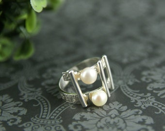 Sterling silver and double freshwater pearl Hashtag ring
