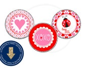 Valentine Chocolate Candy Kiss Labels | Instant Download Printable DIY | Hearts | Ladybugs | Love | XOXO