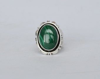 CAROL FELLEY Sterling Silver Natural Malachite Ring Size 5 1/4