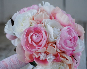 SALE, Silk bridal bouquet, pink, white roses, ranunculus