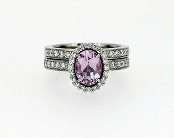 Pink morganite halo engagement ring set, diamond ring, white gold, unique, diamond halo, oval morganite ring, diamond wedding, custom, pink